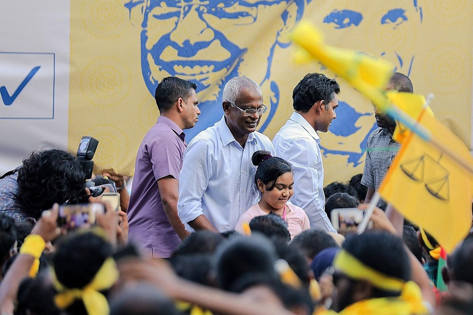 Maldivian President-elect Ibrahim Mohamed Solih (centre) with supporters in Male on Monday. Among the challenges he faces is that of balancing relations between India and China.