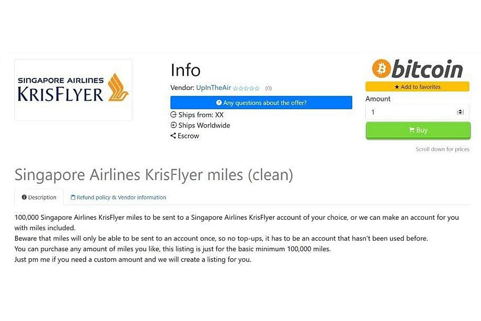 A screen capture of a Dark Web marketplace advertisement selling stolen frequent flier miles. The listings discovered by researchers offer miles for different membership programmes, including those under Singapore Airlines' KrisFlyer programme.