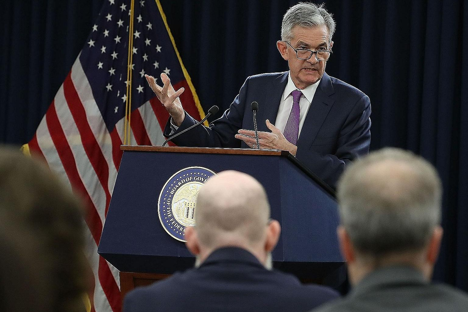 United States Federal Reserve chairman Jerome Powell speaking at a news conference in Washington on Wednesday. The Fed has raised the short-term interest rates by a quarter of a percentage point, and projected one more rise before the end of this yea
