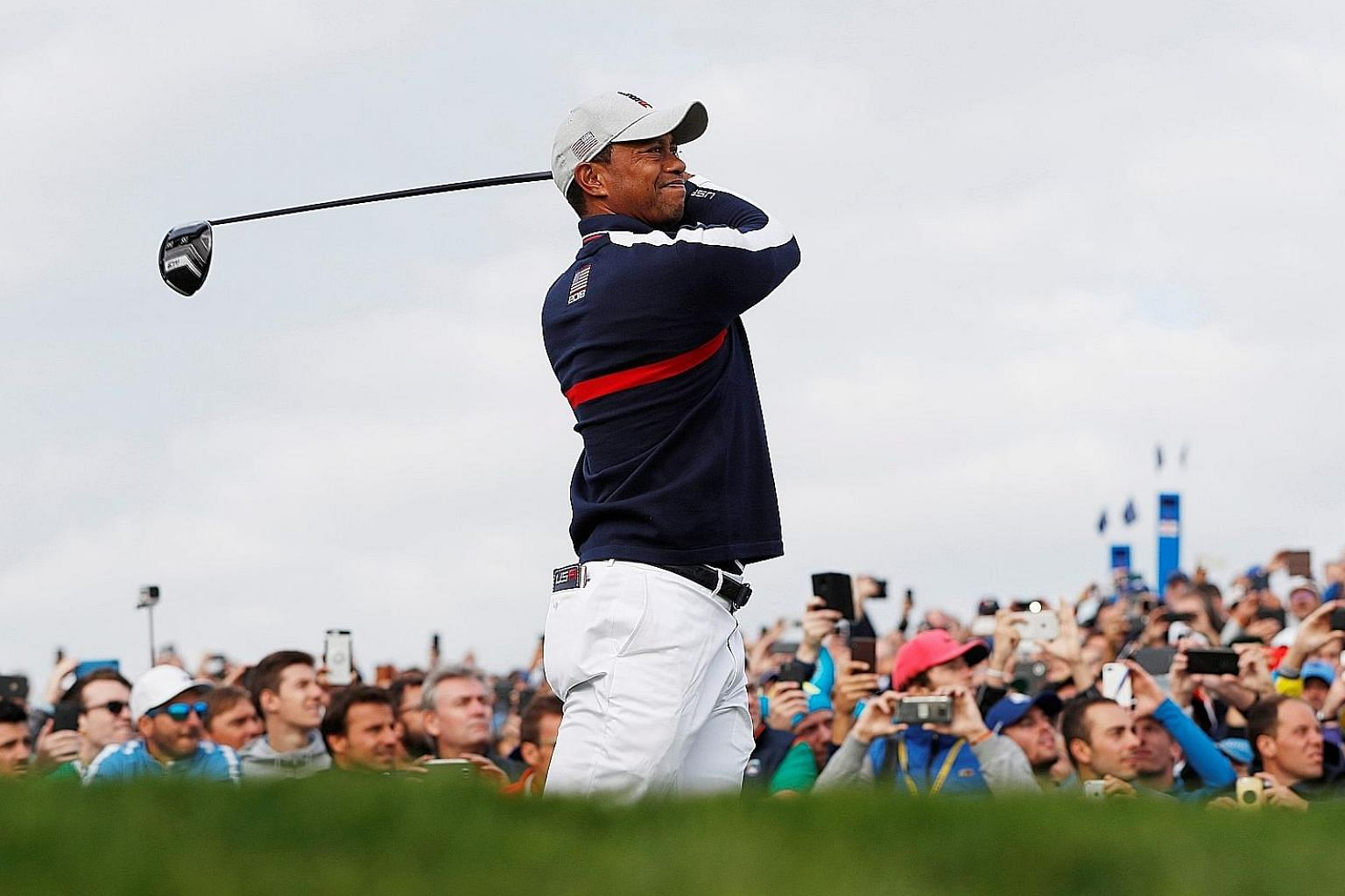Tiger Woods was paired with Patrick Reed during the opening Ryder Cup four-ball matches at Le Golf National in Paris yesterday. Their loss was the only blot on a fine morning for the Americans, who are defending their title but have not won in Europe