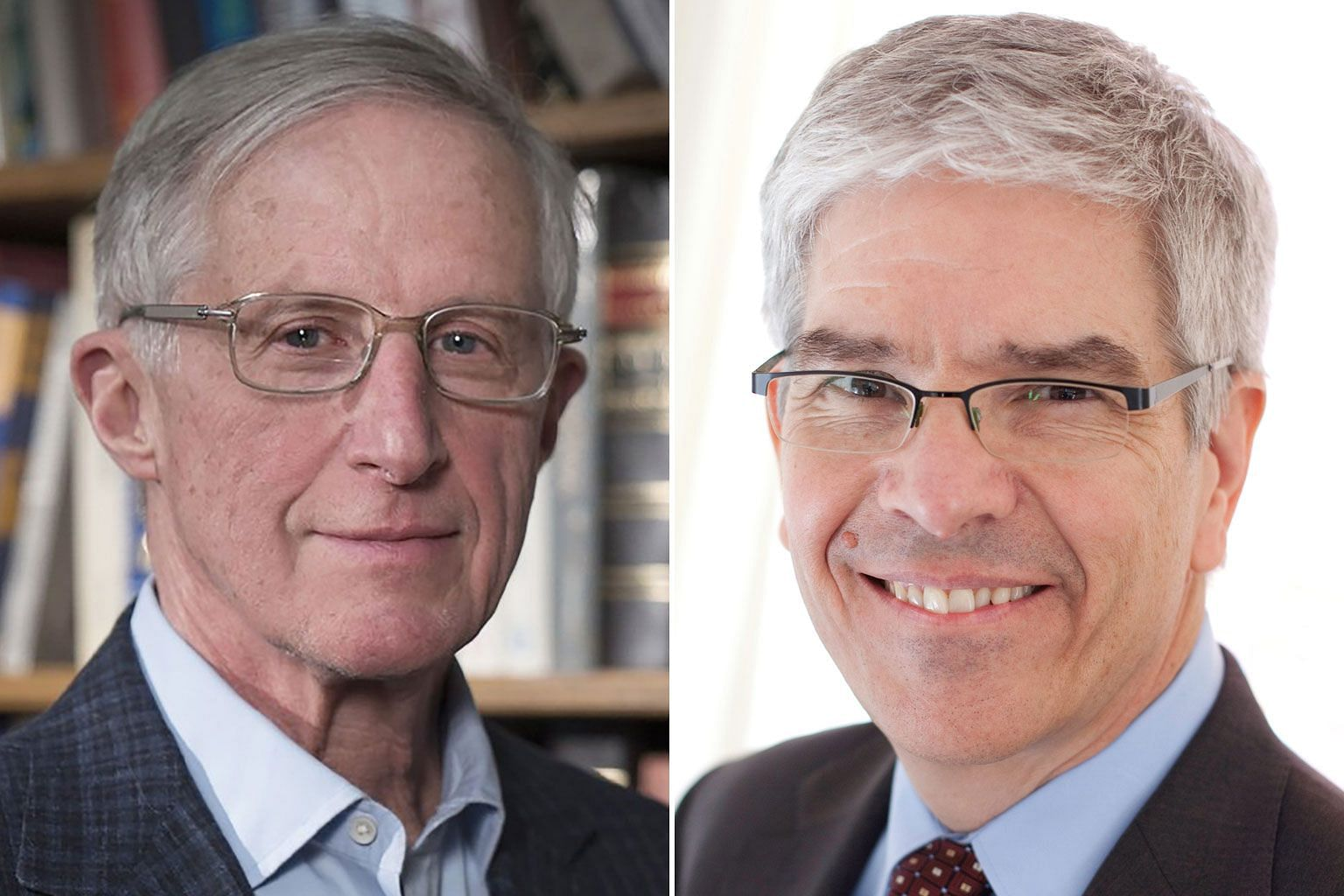 "Economists William Nordhaus (left) and Paul Romer addressed ""some of our time's most basic and pressing questions"" about creating long-term sustained and sustainable growth."