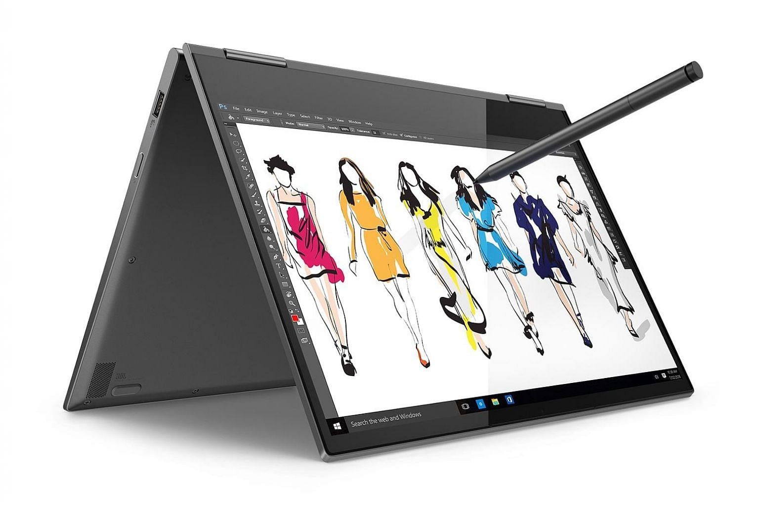The Yoga 730 works with the Lenovo Active Pen 2, a Bluetooth-connected stylus that offers 4,096 levels of pressure sensitivity.