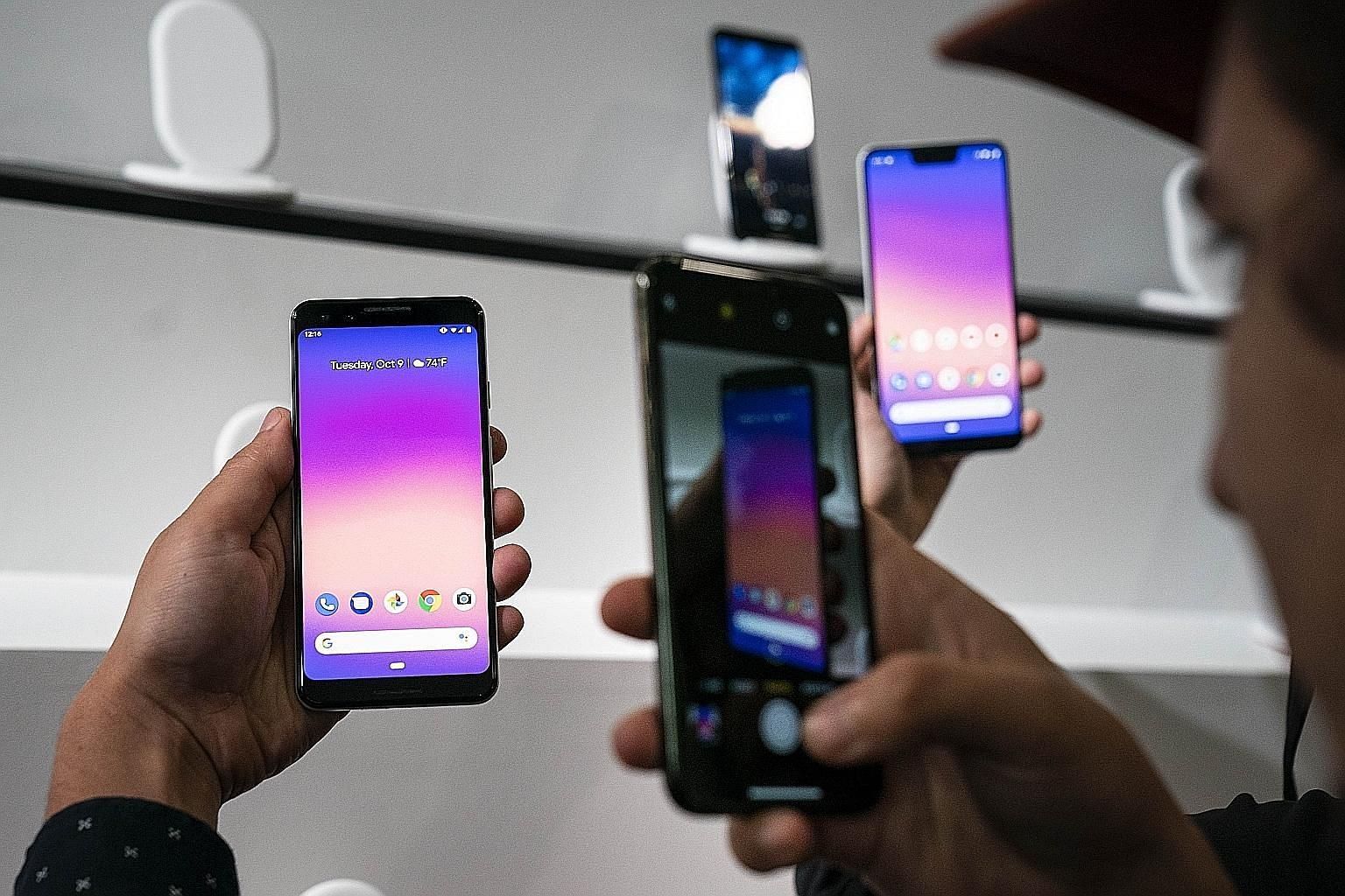 The new Pixel 3 smartphone at a Google event on Tuesday in New York. The phones go on sale from Oct 18 in the US and Nov 1 elsewhere.