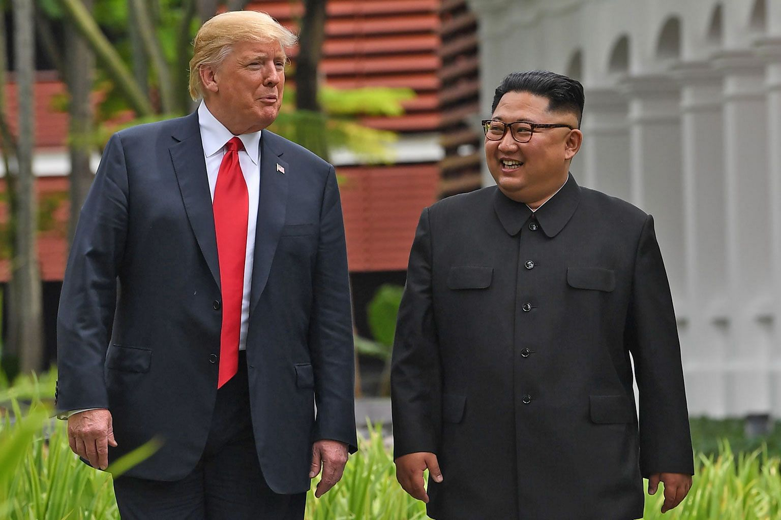 US President Donald Trump with North Korean leader Kim Jong Un during their summit at the Capella hotel in Singapore in June.