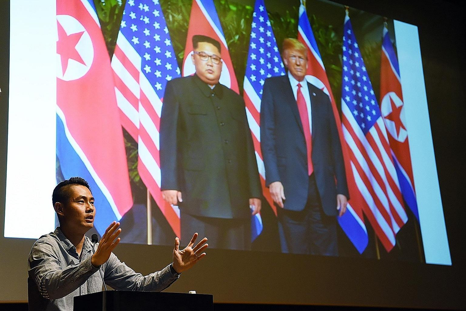 ST photojournalist Kevin Lim yesterday gave a behind-the-scenes account of how he covered the historic Trump-Kim summit in June, at the second of a series of four weekends of talks by The Straits Times and World Press Photo award-winning photojournal
