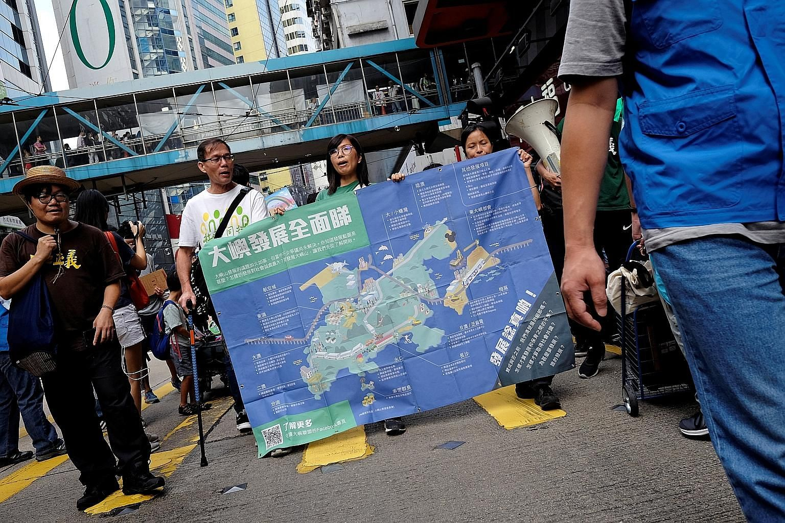 Protesters demonstrating against a large-scale land reclamation project off eastern Lantau Island in Hong Kong on Sunday.