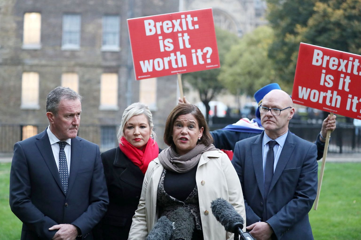 Northern Ireland's Sinn Fein leader Mary Lou McDonald speaking to journalists on Monday before a meeting with Britain's Prime Minister Theresa May in London as talks on a Brexit deal with the EU remain deadlocked.