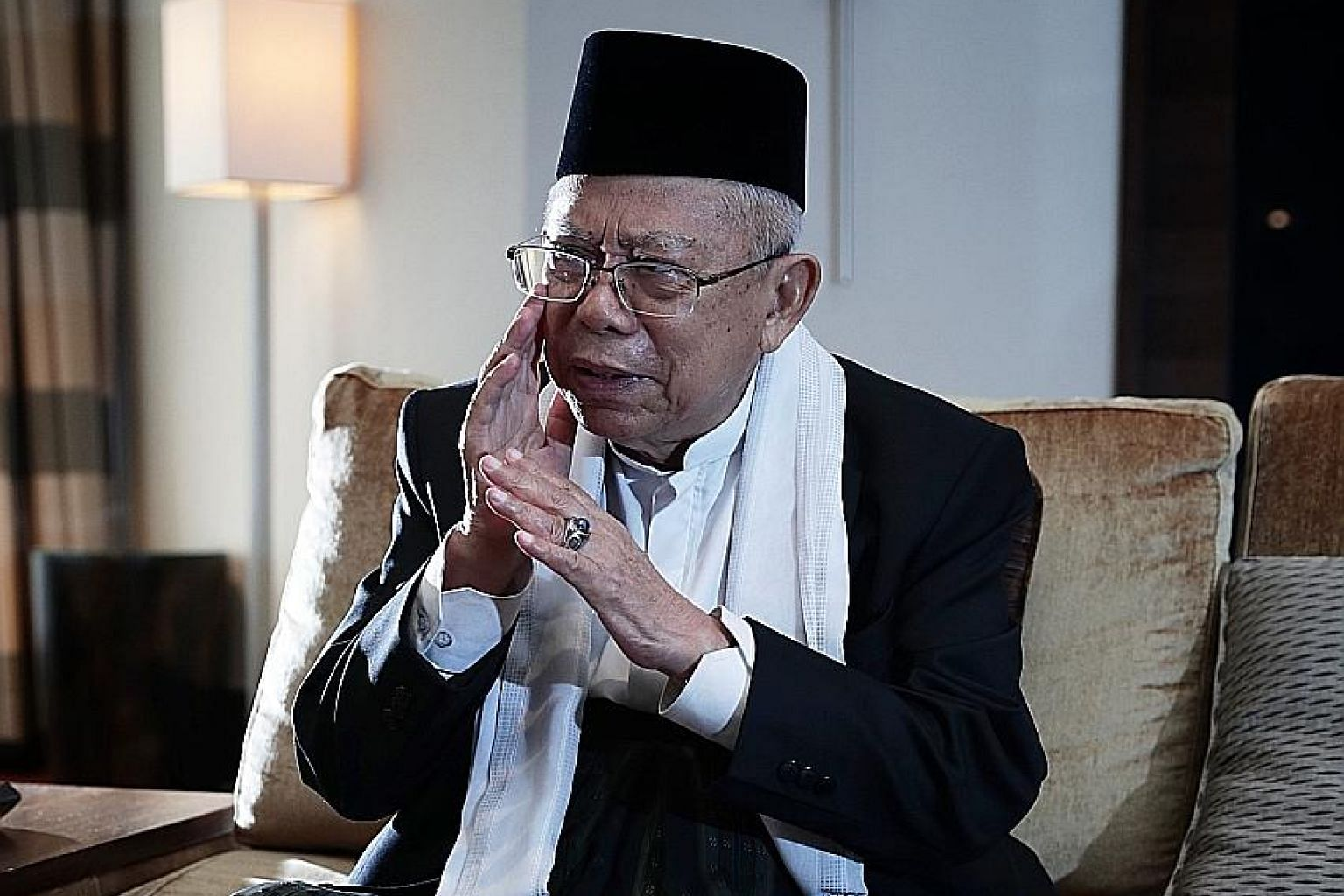 Dr Ma'ruf Amin (above) has vowed to help President Joko Widodo reduce Indonesia's poverty gap and income disparity as well as continue with infrastructure projects such as the development of airports and ports.