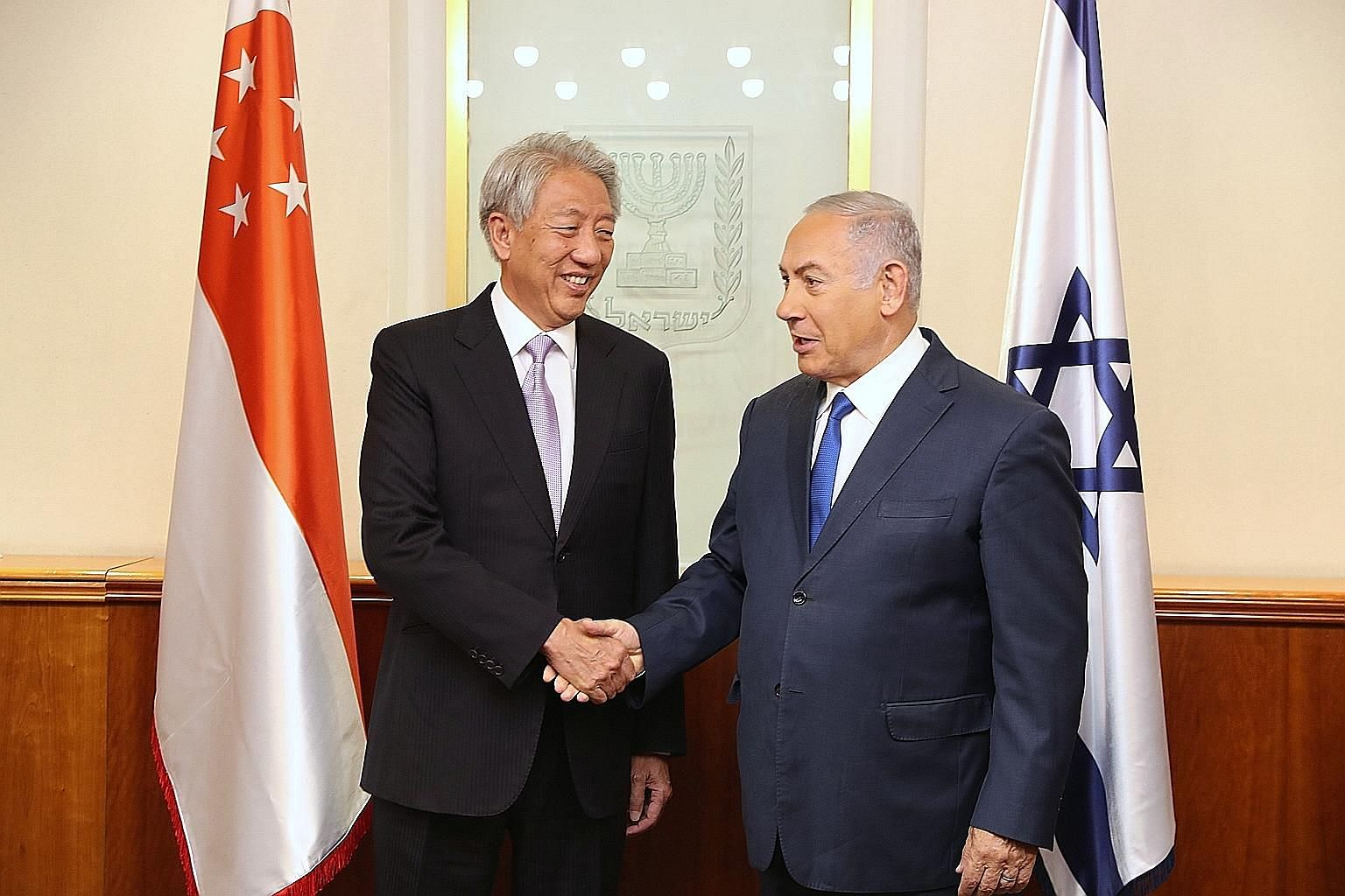 Deputy Prime Minister Teo Chee Hean and Israeli Prime Minister Benjamin Netanyahu reaffirmed the strong bilateral cooperation between the two countries.