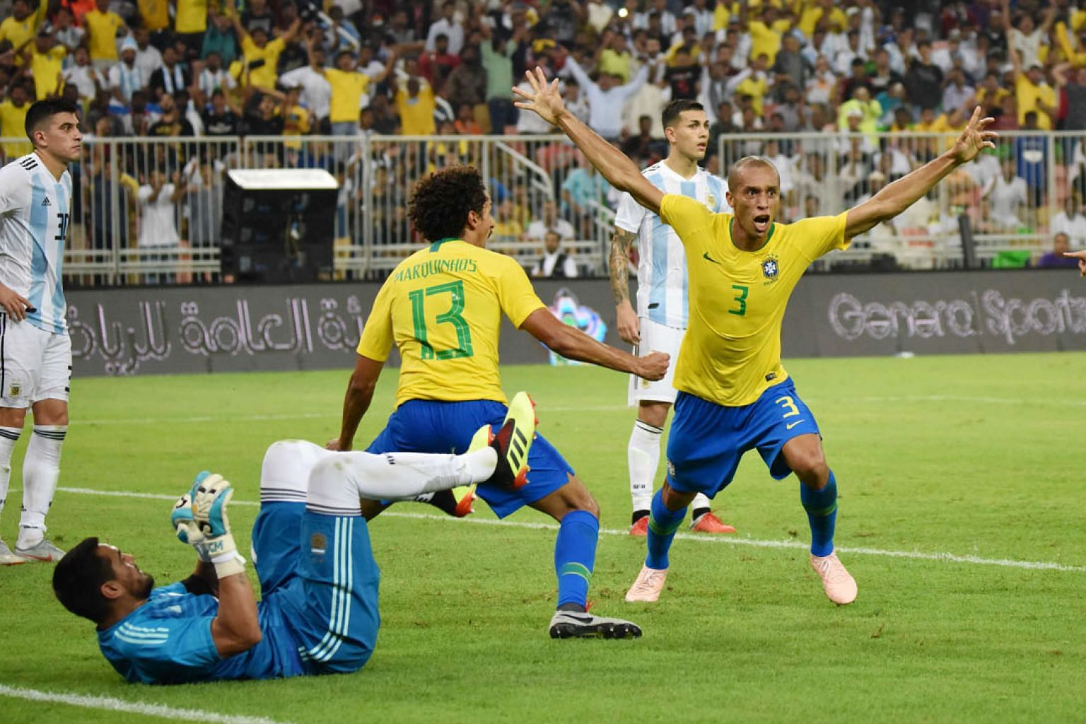 Miranda celebrating after scoring deep in stoppage time against Argentina in a friendly in Jeddah on Tuesday. The veteran defender believes he is still in good shape and wants to carry on playing for Brazil.