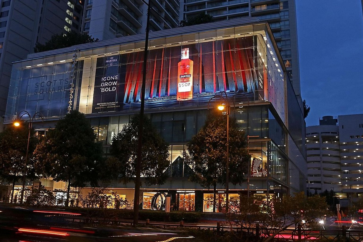 SPH says it is the first time that an installation of such a scale has been launched in Singapore. The ad, measuring 50m by 11m, will light up every night at 7pm till next month.
