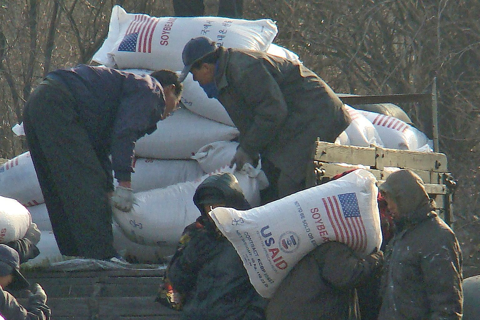 Workers unloading food aid in the Sinuiju region of North Korea in2008. The latest moves by the Trump administration seek to tighten sanctions as part of its maximum-pressure campaign during nuclear negotiations.