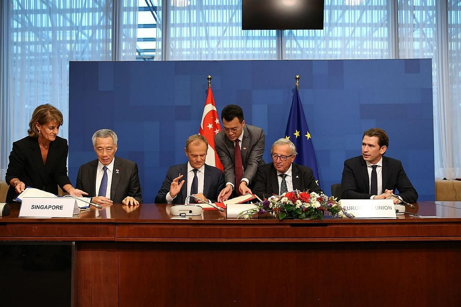 Prime Minister Lee Hsien Loong at the signing of the EU-Singapore FTA with (from left) European Council President Donald Tusk, European Commission President Jean-Claude Juncker and Austrian Chancellor Sebastian Kurz.
