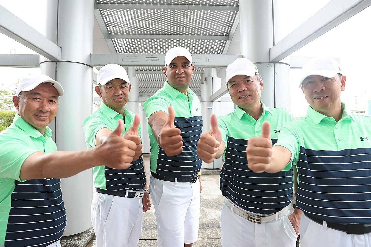 From left: Ricky Huang, Teo Hock Guan, Samir Bedi, Patrick Low and Ong Siew Yong will be representing Singapore in the World Amateur Golfers Championship World Finals across the Causeway this week.