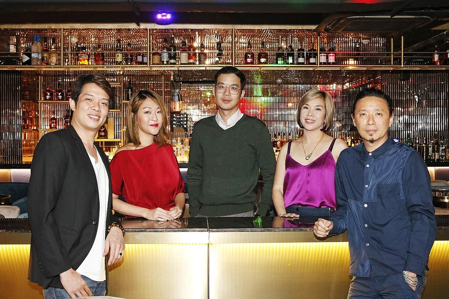 The team behind Eliza comprises (from left) former Shanghai Dolly managing director Gordon Foo; Ms Sandra Sim, a former restaurateur in Shanghai; bartender Sam Wong; Ms Tay Eu-Yen, who co-founded now-defunct popular club The Butter Factory; and DJ Al