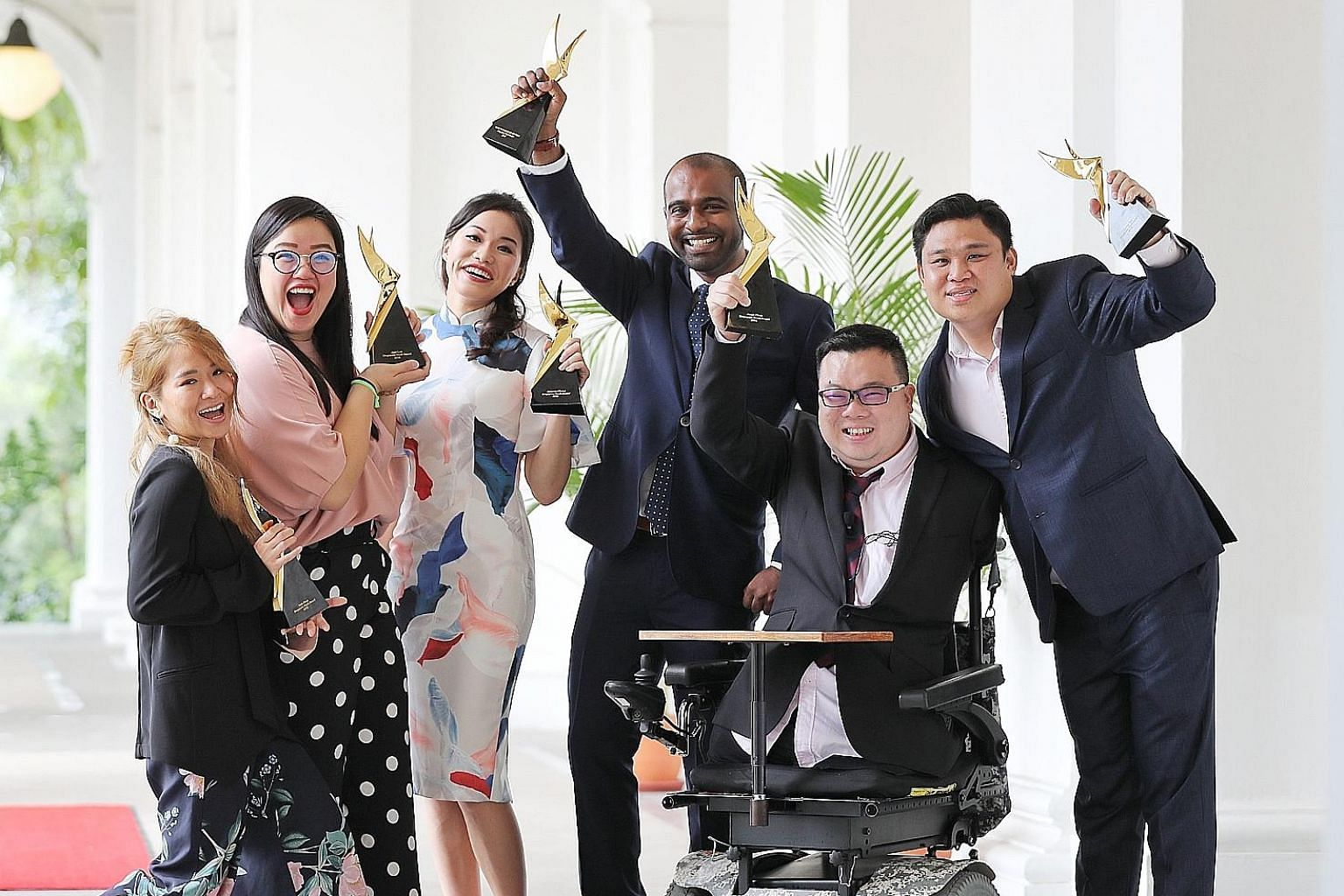 (From far left) Musician Inch Chua; Lien Foundation co-lead of early childhood development Jean Loo; state counsel Amanda Chong; surgeon Hamid Rahmatullah; para-athlete Jason Chee; and Pope Jai founder Daniel Teh after receiving their awards yesterda