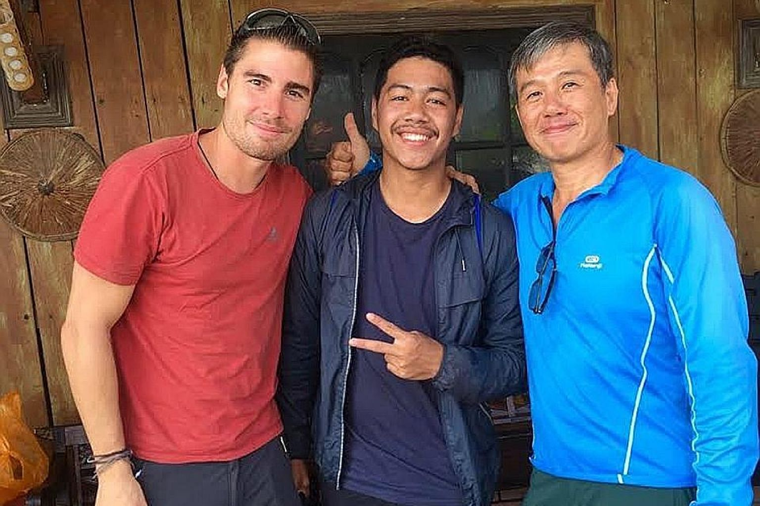 (From left) Mr Francois de Neuville with Mr Gleen Mononutu, who died in the Palu quake, and Mr Ng Kok Choong, whose body was found on Tuesday. The trio called themselves The Happy Flyers.