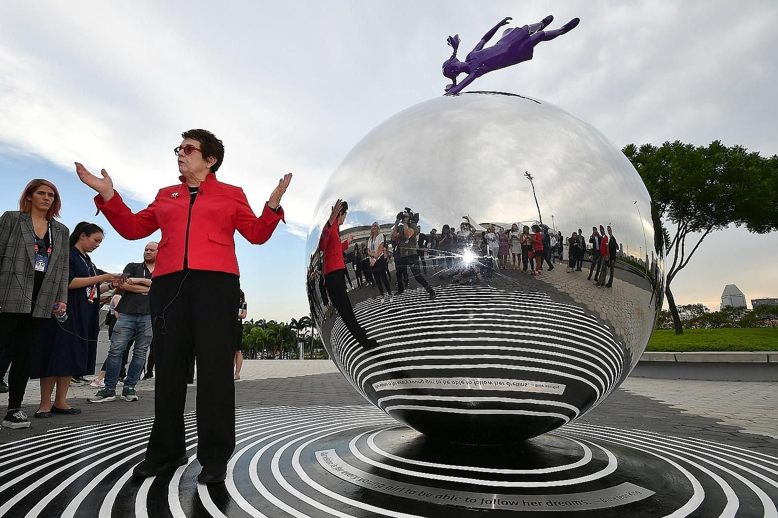 American tennis icon Billie Jean King unveiling a sculpture to commemorate the WTA Finals in Singapore, which is into its fifth and final edition. Titled Dream, it is the first installation of the upcoming sports, arts and heritage trail, which the S