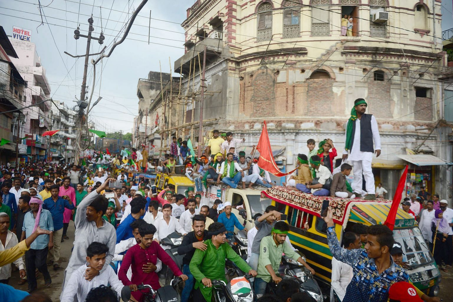 A procession during the Muslim holy month of Muharram in Allahabad on Sept 21. The city's name is a British corruption of Ilahabas, the name given in the 16th century by Mughal Emperor Akbar.