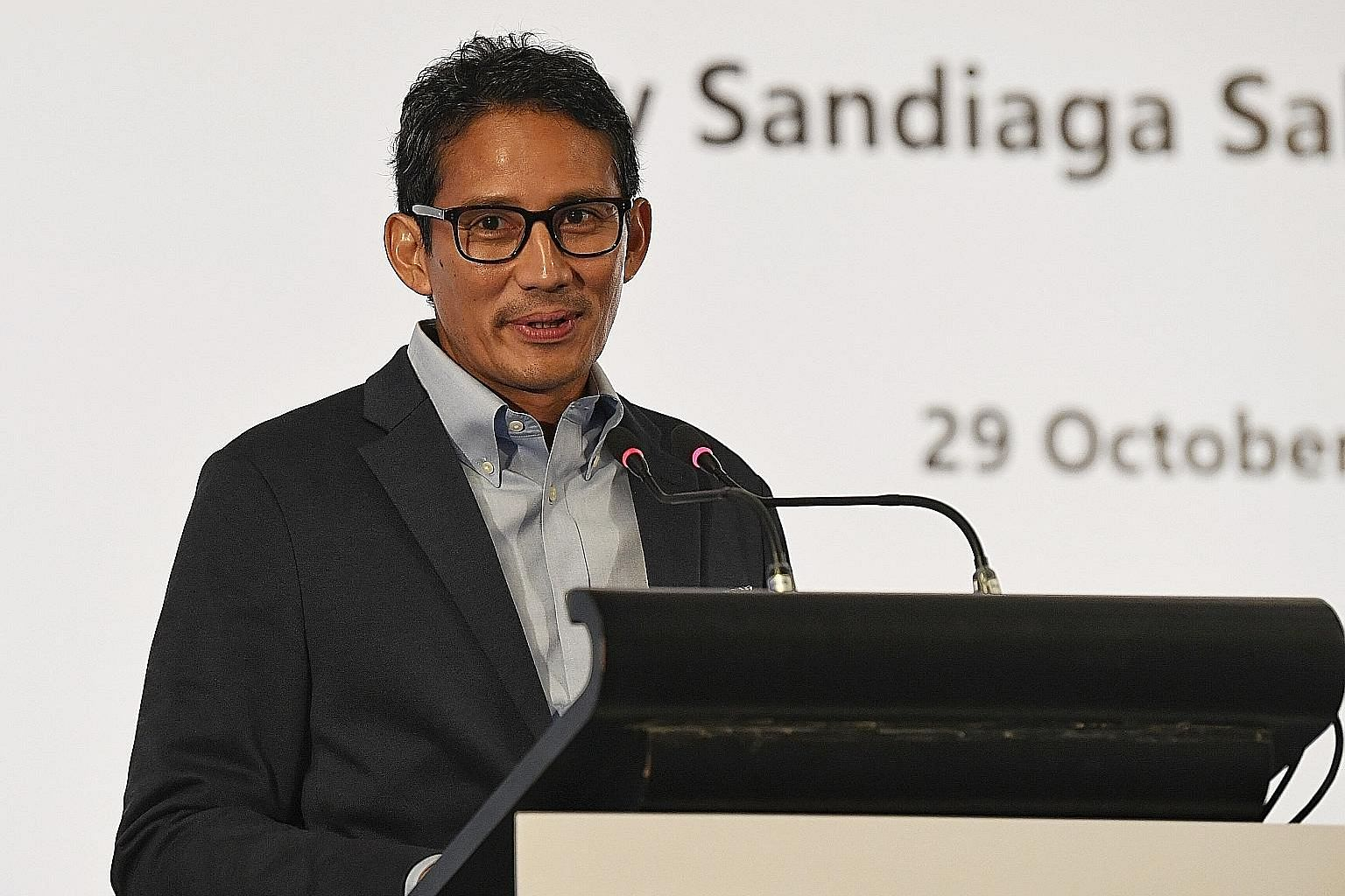 Mr Sandiaga Uno giving a talk on Indonesia's Future Economy at Orchard Hotel yesterday.