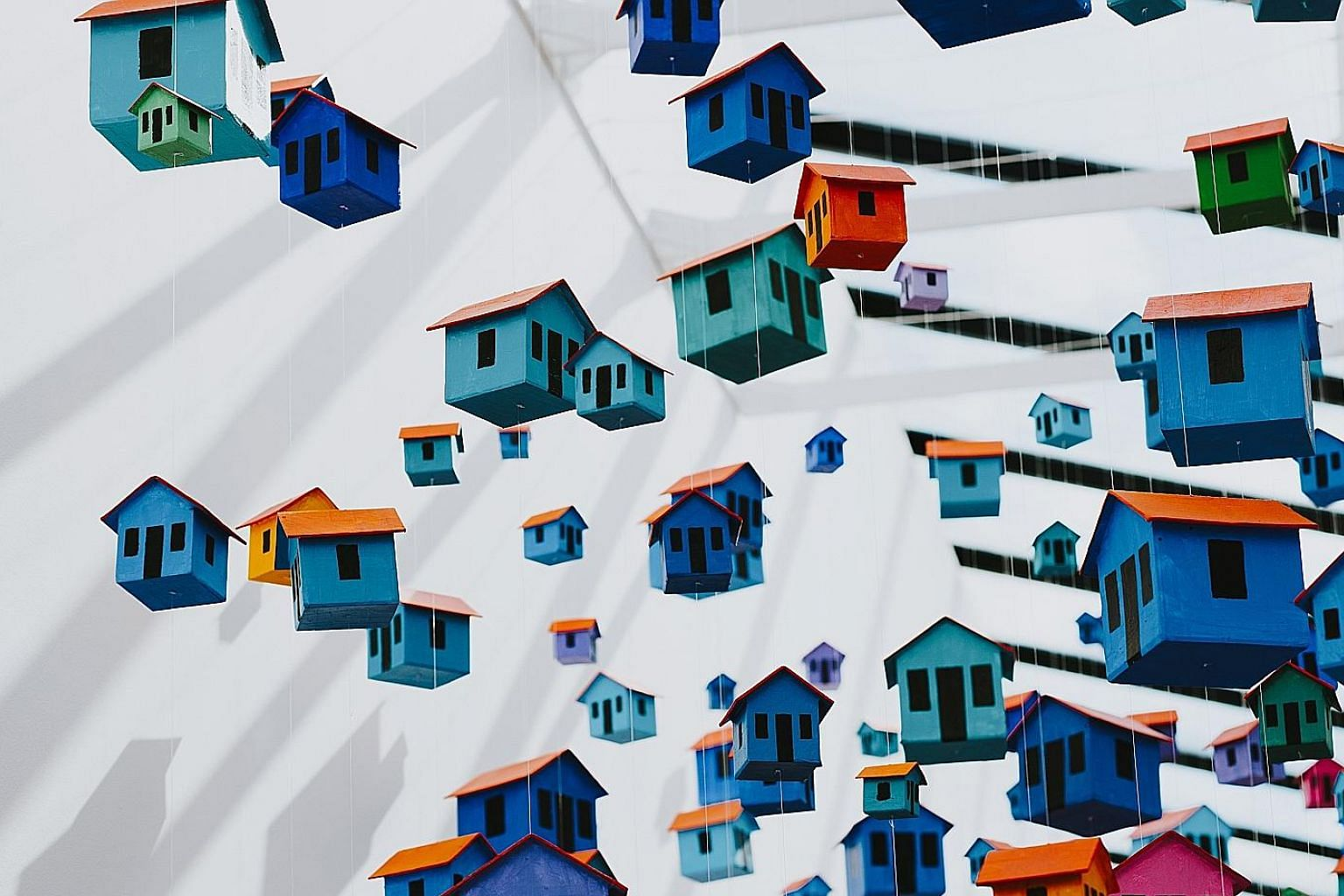 Dominican artist Fernando Tamburini's The Flying Town installation is among the artworks displayed at Sugar Hill Children's Museum of Art & Storytelling in Upper Manhattan.