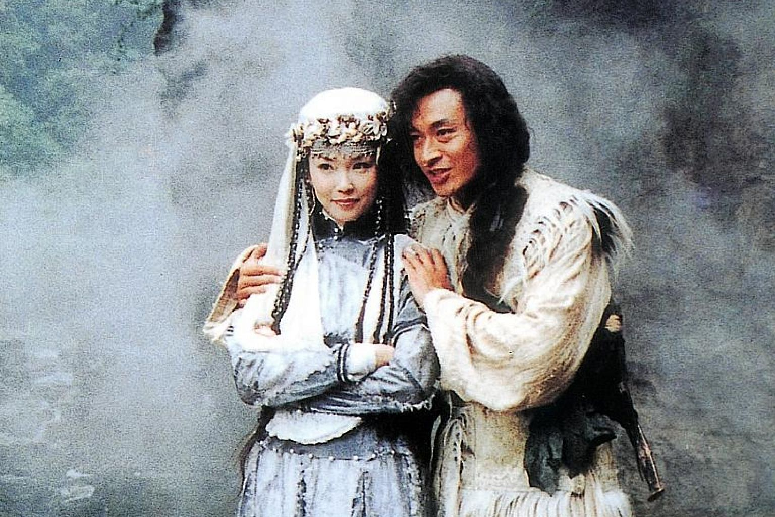 A 2000 Singapore television adaptation of The Legendary Swordsman starred local actress Fann Wong and Taiwanese actor Ma Jingtao (both left), who played the titular character, Linghu Chong.