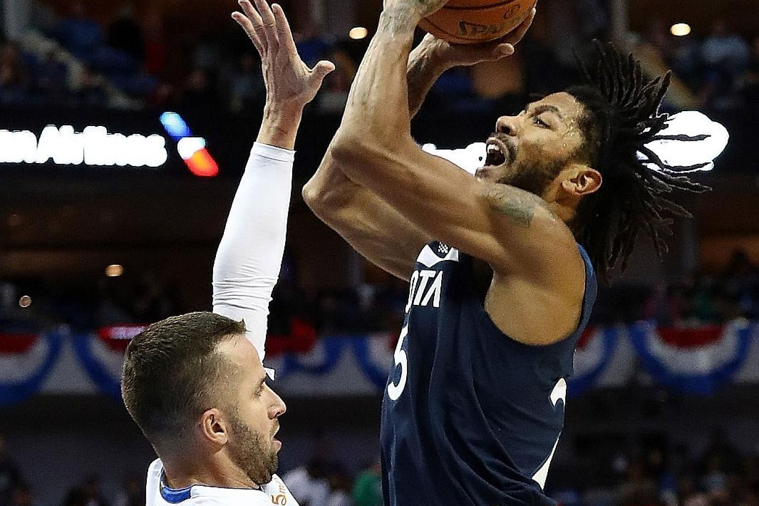 Minnesota's Derrick Rose taking a shot over Dallas' J.J. Barea in their game on Oct 20, when he set his previous season high of 28 points.
