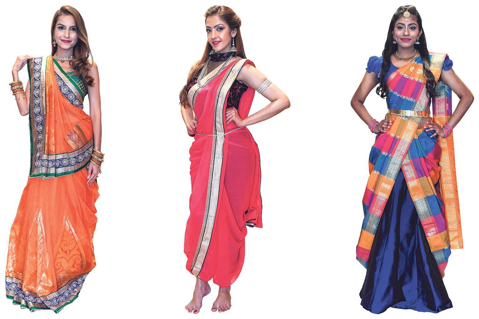 Ms Jasmi Kishore Ghariwala, 32, wearing an organza sari in Gujarati style. Ms Smitha Jeet Kaur, 27, wearing a georgette sari in dhoti style. Ms Yamunaa Dharshini, 19, wearing a traditional checkered sari in cancan style.