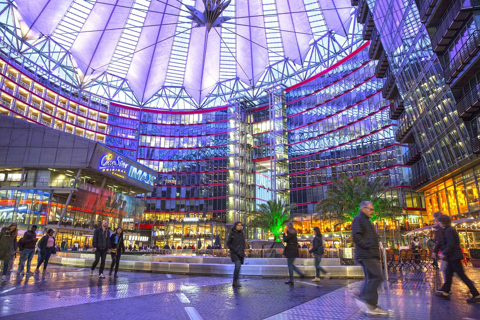 Located at Potsdamer Platz, the Sony Centre with its impressive pavilion roof is an example of how the square has morphed over the years into a landmark of the new, modern Berlin with skyscrapers and architectural masterpieces.