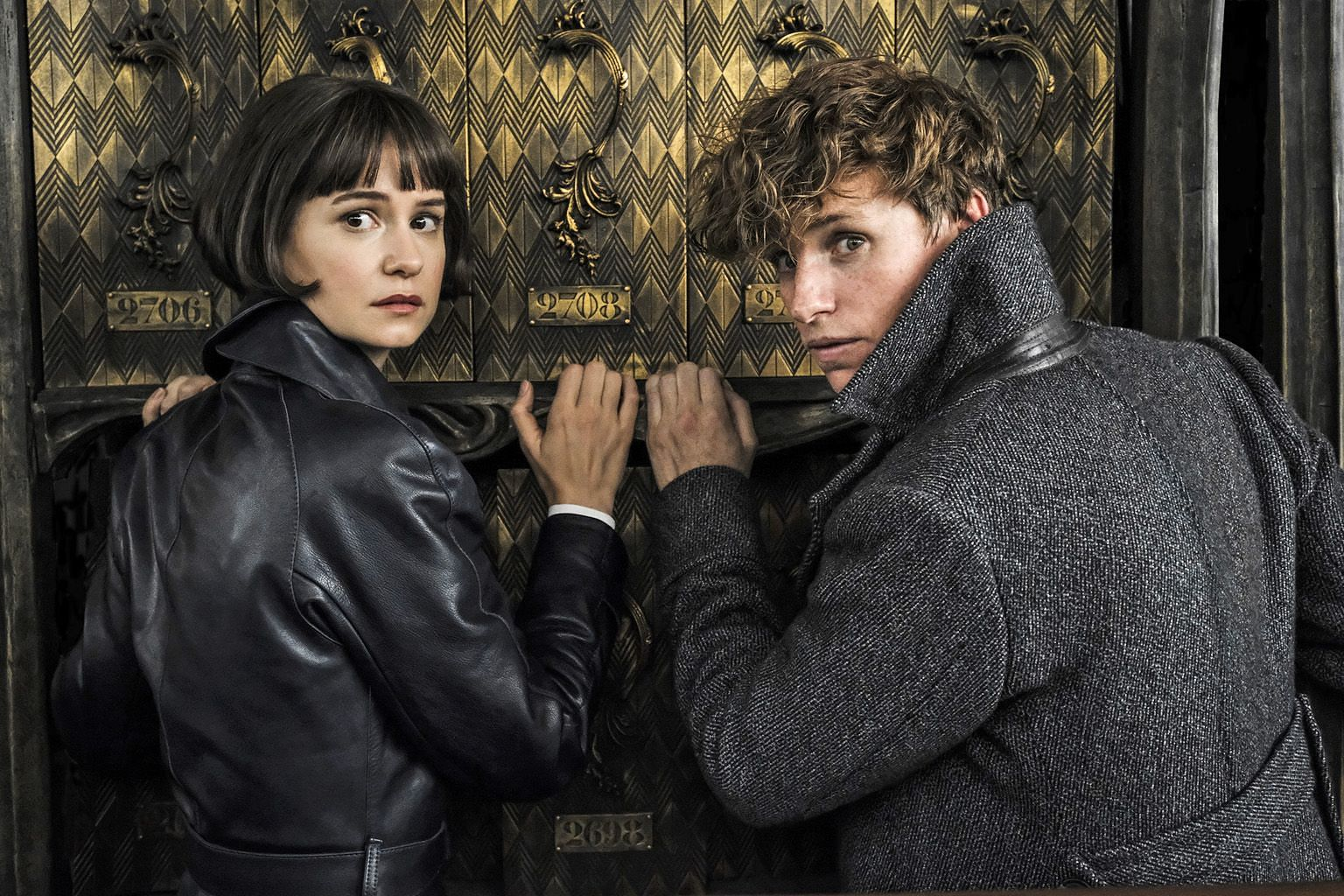 The stars of Fantastic Beasts: The Crimes Of Grindelwald - Katherine Waterston (left) and Eddie Redmayne