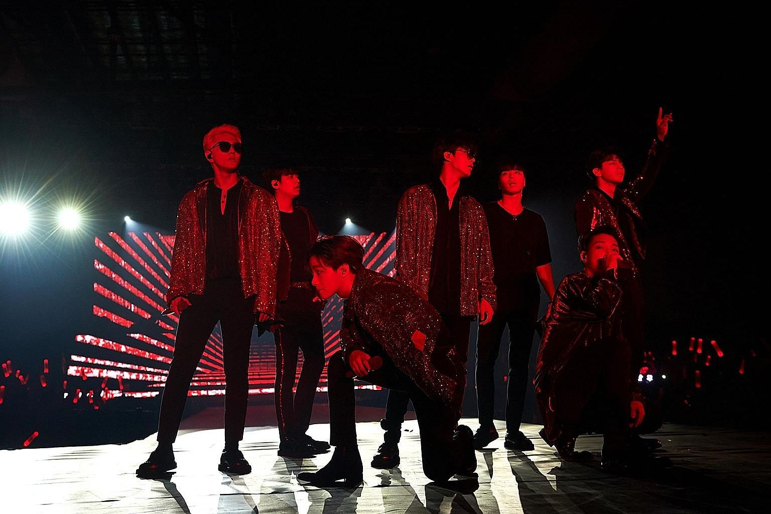 K-pop boyband iKon, comprising (from left) Donghyuk, Chanwoo, Jinhwan, B.I, Junhoe, Bobby and Yunhyeong, worked the crowd well at their concert.