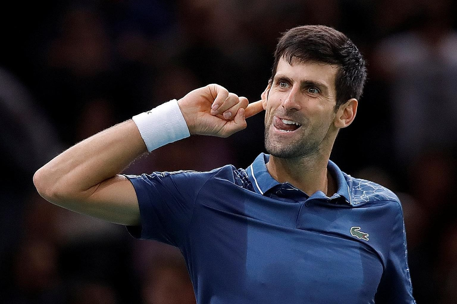 Novak Djokovic plays to the crowd after his marathon 7-6 (8-6), 5-7, 7-6 (7-3) victory over Roger Federer at the Paris Masters on Saturday.