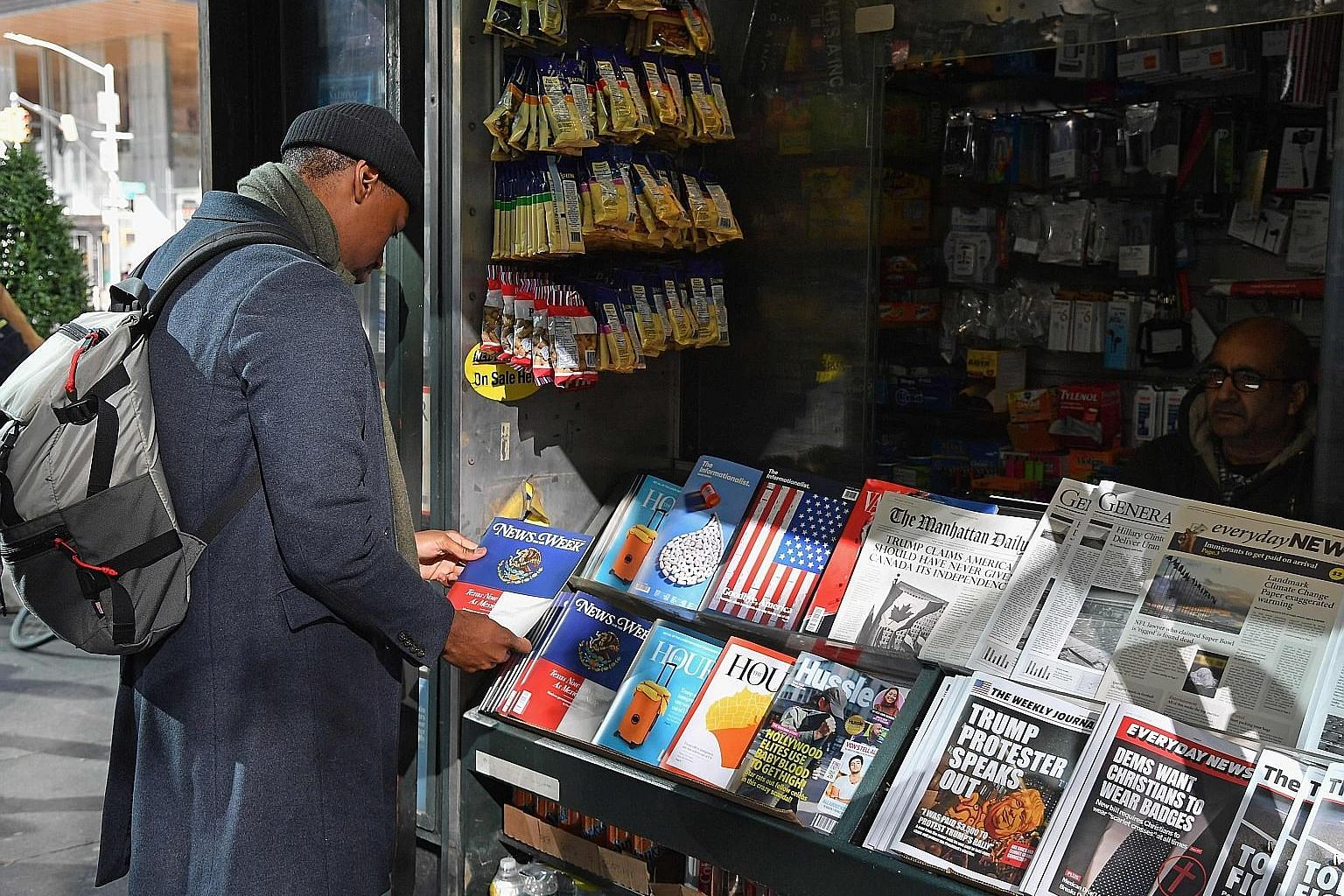 A misinformation newsstand in Manhattan aimed at educating people about the dangers of fake news. The stand is outfitted with false stories taken from the Internet and printed on newspapers and magazines that mirror the design of legitimate publicati