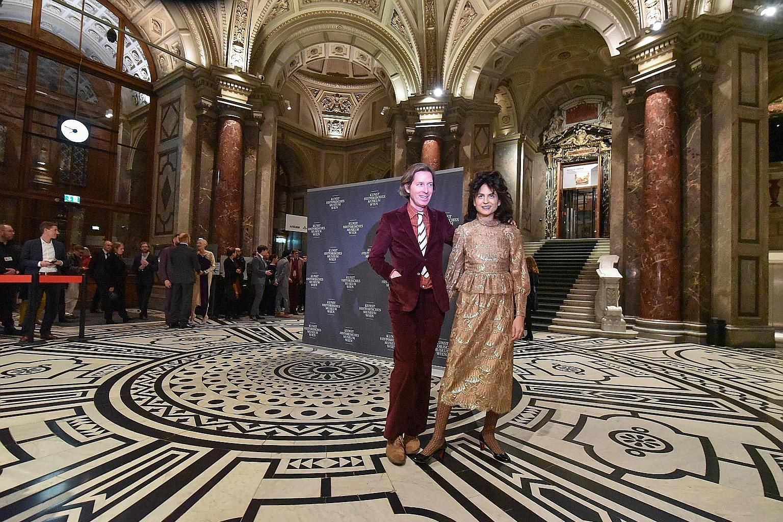 The exhibit of Coffin of a Spitzmaus (Shrew, far left) and that of Radiated Tortoise and Hermann's Tortoise (left). American film-maker Wes Anderson and his partner, illustrator Juman Malouf, arriving for the opening of their exhibition, Spitzmaus Mu