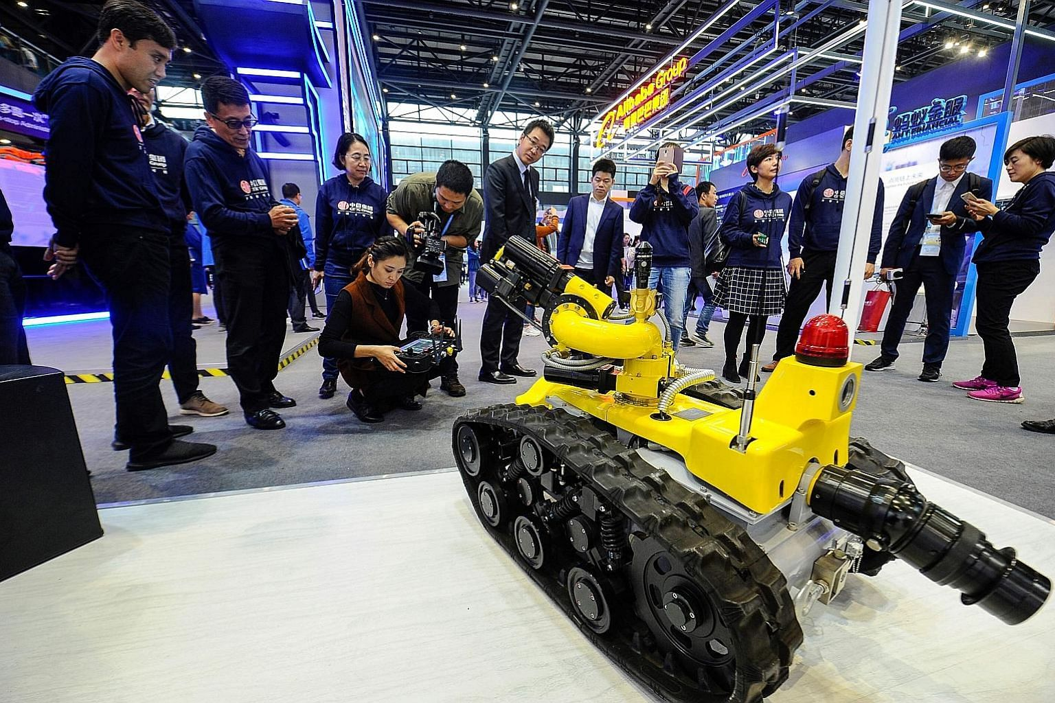 A firefighting robot on display on Tuesday at the Light of Internet Expo ahead of the World Internet Conference in Wuzhen.