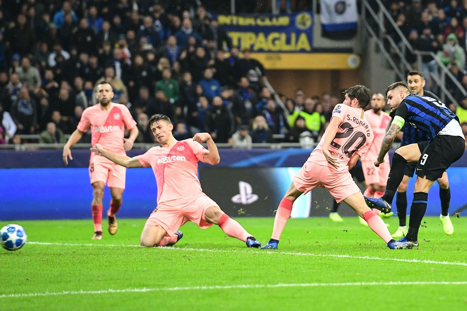 Inter forward Mauro Icardi equalising in the 87th minute against Barcelona at the San Siro. The Spanish giants are through to the Champions League last 16 while Inter need only a point to join them.