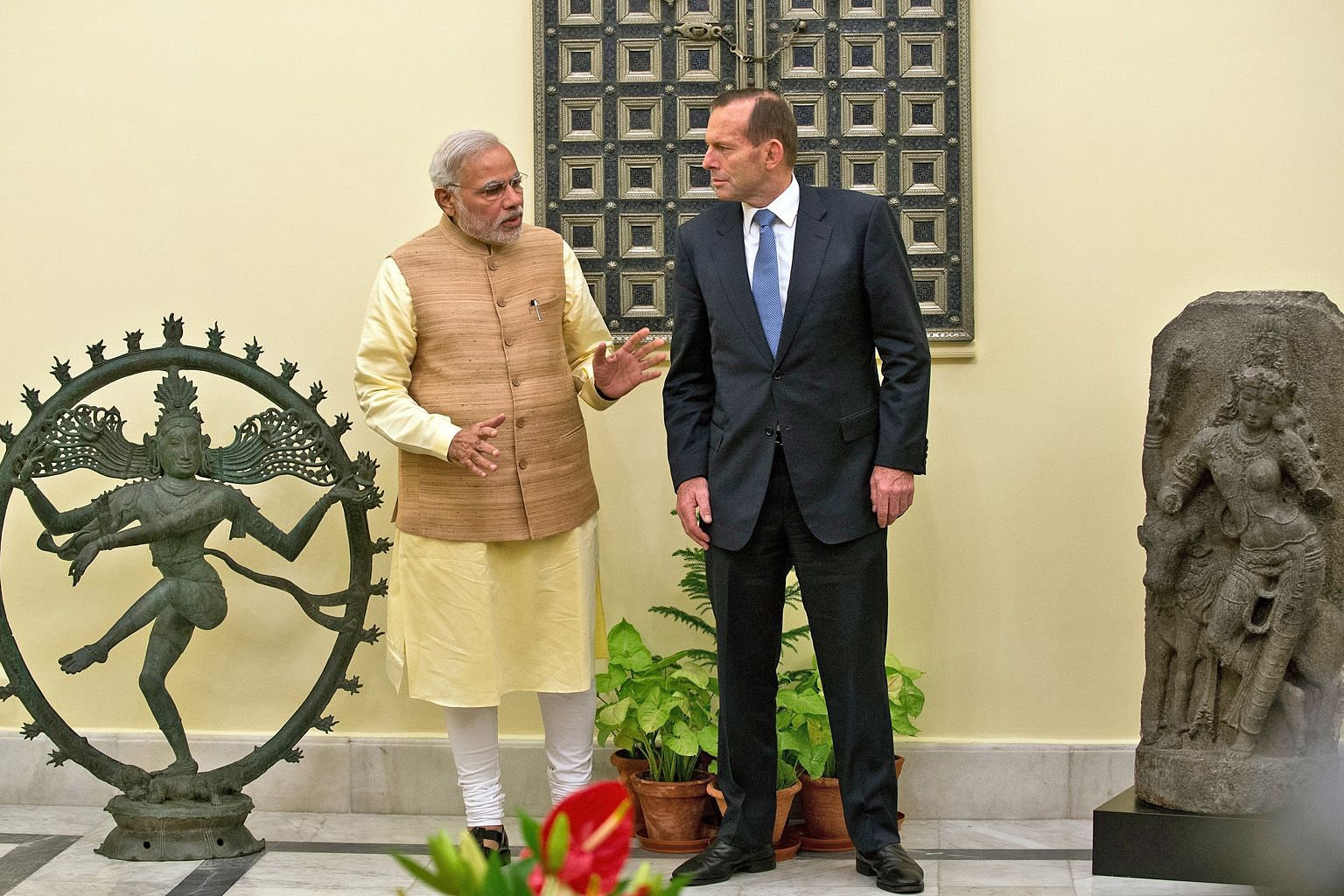In 2014, India's Prime Minister Narendra Modi personally accepted from then Australian Prime Minister Tony Abbott an 11th-century idol of Nataraja - the Hindu god Shiva in his form as the cosmic dancer. The statue was allegedly stolen from a temple i