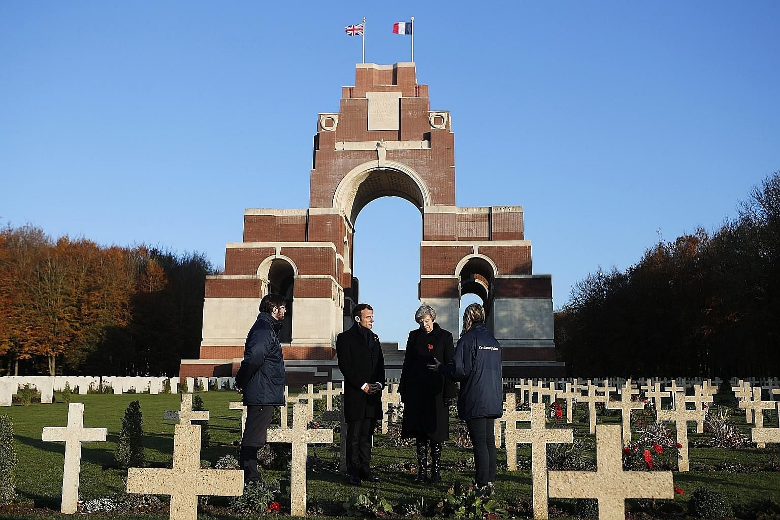 British Prime Minister Theresa May and French President Emmanuel Macron visiting the Thiepval Memorial in northern France last Friday as part of events commemorating the 100th anniversary of the World War I Armistice today.