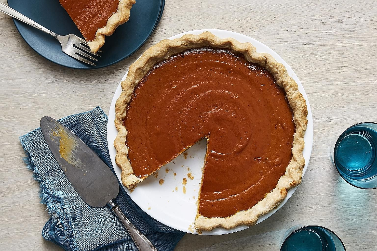 This pumpkin pie has the perfect balance of ginger and spice.