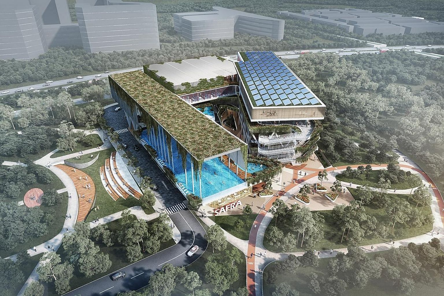Artists' impressions of the new Safra clubhouse, which will be located within a five-minute walk from Choa Chu Kang MRT station. It will open in 2022 and the development cost is expected to be between $60 million and $70 million. It will be the seven