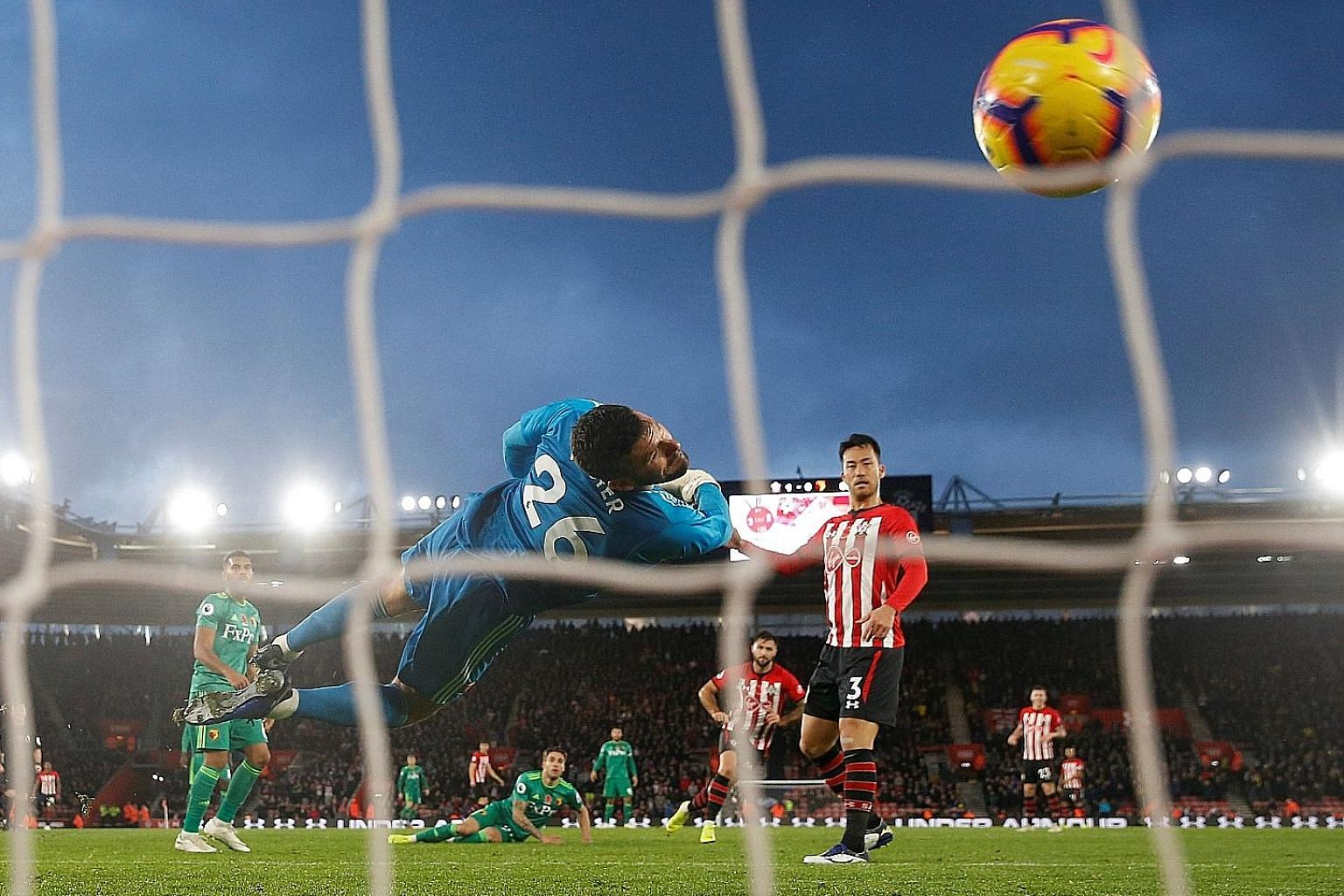Southampton's Charlie Austin scoring a goal that was disallowed, as it went in off teammate Maya Yoshida who was deemed offside.