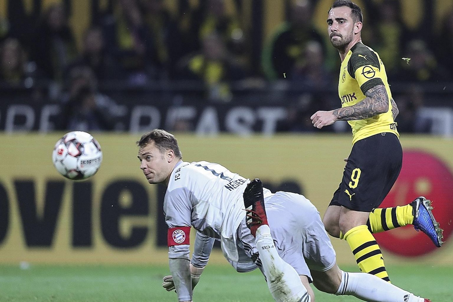 Paco Alcacer beating Manuel Neuer to score Dortmund's winner in their 3-2 home victory over Bayern on Saturday, ending the visitors' six-match unbeaten run.