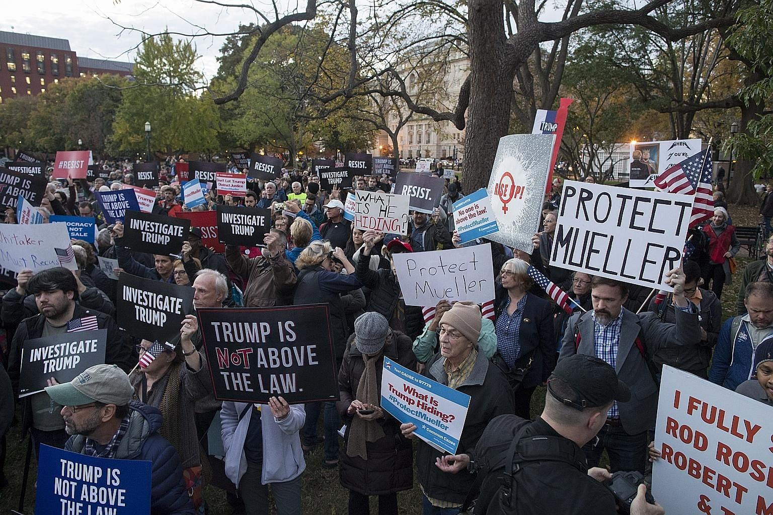 Protesters rallying against the removal of attorney-general Jeff Sessions and President Donald Trump's appointment of Mr Matt Whitaker as Acting A-G last week, prompting fears over the fate of special counsel Robert Mueller's probe into alleged Russi