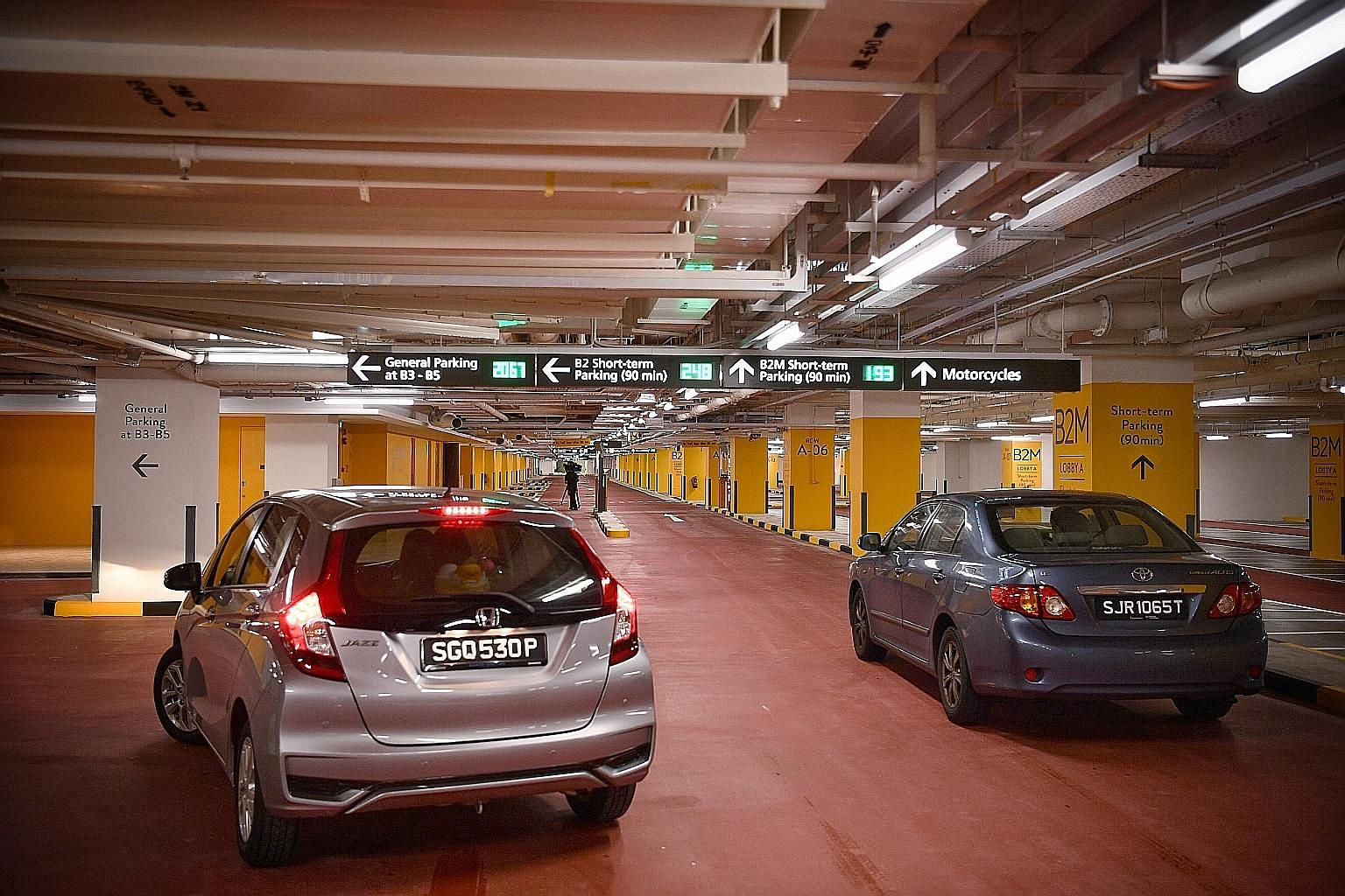 The entrance to the new carpark at Changi Airport's Terminal 1. There will be signs to inform drivers of the tiered charges at B2M and B2, and exit routes to take them to the lower floors even if they end up on the wrong level.
