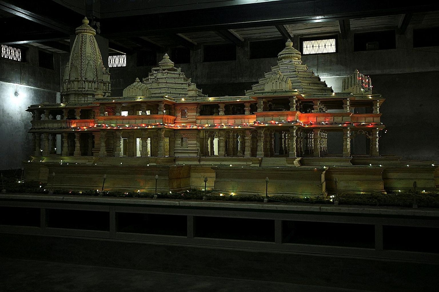 A model of a proposed Ram temple which Hindus want to build on the site of the demolished Babri Mosque in the northern Indian town of Ayodhya. Hindu mobs demolished the mosque in 1992, sparking communal riots.