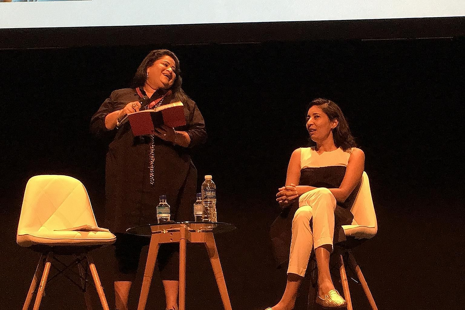 Indian-American author Kiran Desai (right) at her talk, Place And Displacement: Finding Oneself In 2018, with moderator Carolyn Camoens.