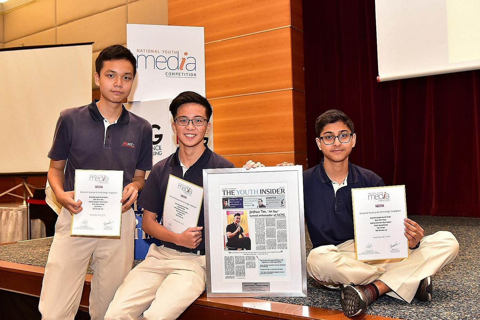 Some of the members of the School of Science and Technology, Singapore team that emerged champion in this year's National Youth Media Competition: (from left) Shen Guocheng, Tan Chuan Jie and Kamal Sawlani Govindani.