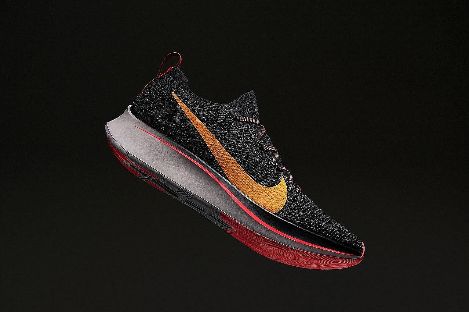 The Nike Zoom Fly Flyknit has a full-length carbon-fibre plate inserted into the midsole to aid foot lift-off.