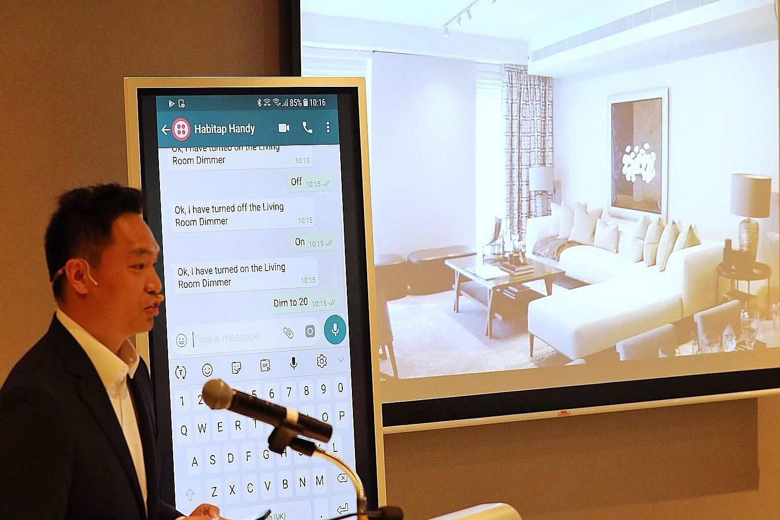 Mr Franklin Tang, chief executive of smart living platform developer Habitap, demonstrates how the Habitap Handy assistant can understand informally written text and ask follow-up questions to find out more about a user's request or instruction.
