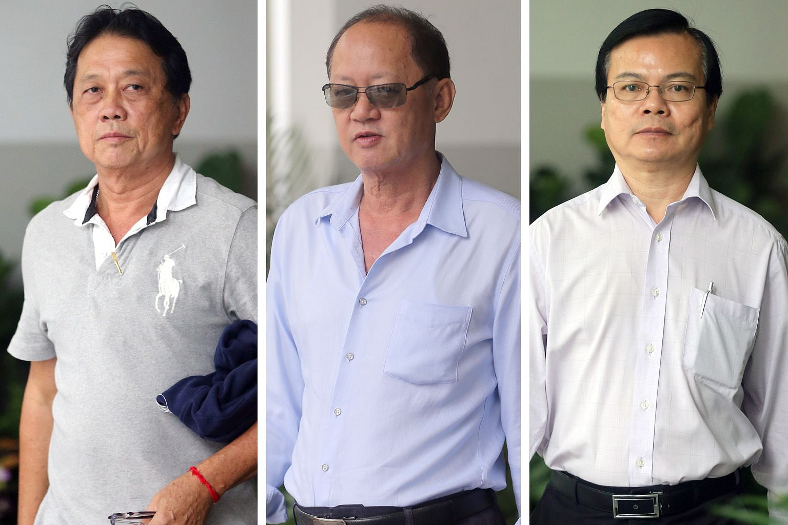 Prosecution witness, Mr Tay En Chuan (left), said company director Chia Sin Lan (centre) told him he sold a company car to former town council general manager Wong Chee Meng (right) at a discount.